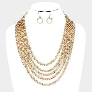 Jewelry - Gold Multi Layered Chain Statement Necklace
